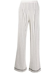 Barrie Striped Cashmere Wide Leg Trousers White