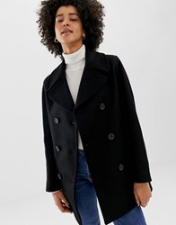 Gloverall Reefer Double Breasted Coat In Wool Blend Black