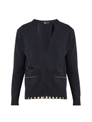 Kolor Embellished Hem Belted Cotton Cardigan Navy