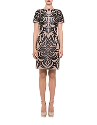 Alexia Admor Faux Leather Patterned Shift Dress Black Nude