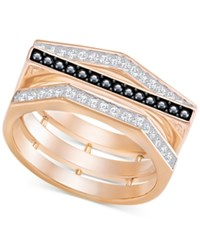 Swarovski Rose Gold Tone Clear And Black Pave Ring