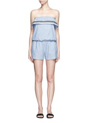 Lemlem 'Mara' Stripe Embroidery Strapless Rompers