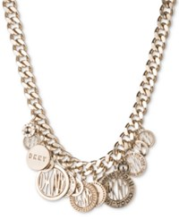 Dkny Gold Tone Multi Charm Logo Pendant Necklace Created For Macy's