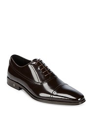 Versace Cap Toe Leather Oxfords Black