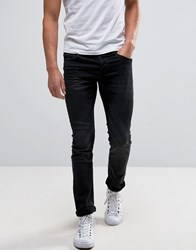 Only And Sons Denim Joggers In Stretch Slim Fit In Washed Black Gray
