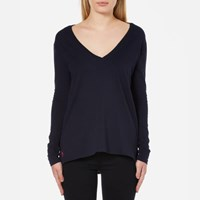 Polo Ralph Lauren Women's Long Sleeve V Neck T Shirt Hunter Navy Blue