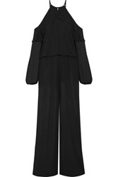 Michael Michael Kors Cold Shoulder Ruffle Trimmed Chiffon Jumpsuit Black