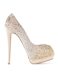 Giuseppe Zanotti Design Glitter Platform Pumps Nude And Neutrals
