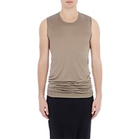 Rick Owens Men's Silk Sleeveless T Shirt Beige Grey Beige Grey