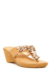 Italian Shoemakers Folly Leather Wedge Sandal Beige