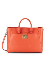 Versace Textured Leather Satchel Coral