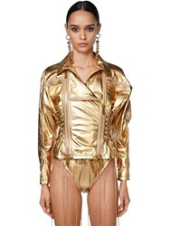 Dsquared Lace Up Leather Biker Jacket Gold