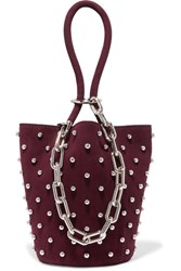 Alexander Wang Roxy Mini Studded Suede Bucket Bag Plum
