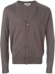 Canali V Neck Cardigan Brown