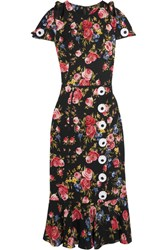 Dolce And Gabbana Floral Print Silk Blend Charmeuse Dress Black