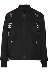 Tim Coppens Embroidered Wool Gabardine Bomber Jacket Black