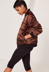 Missguided Satin Quilted Bomber Brown Chocolate