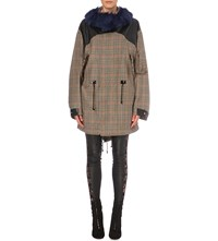 Rodarte Shearling Trim Wool Jacket Taupe