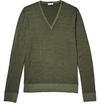 Tomas Maier Two Tone Wool Sweater Green