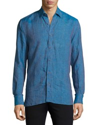 Patrick Assaraf Long Sleeve Linen Sport Shirt Sailor