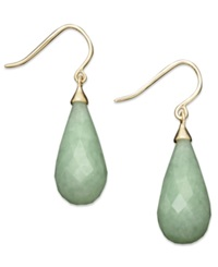 Macy's 14K Gold Earrings Jade Teardrop Earrings Green