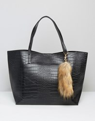 Glamorous Moc Croc Tote With Faux Fox Tail Charm Black