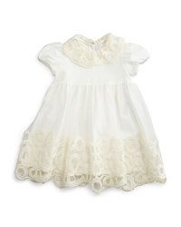 Il Gufo Cap Sleeve Embroidered Tulle Dress White