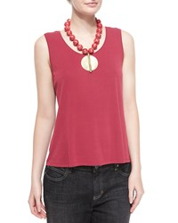 Eileen Fisher Silk Jersey Tank Top Red Saffron Petite Women's