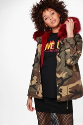 Boohoo Short Camo Faux Fur Lined Parka Wine