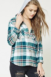 Forever 21 Hooded Plaid Flannel Shirt Teal Grey