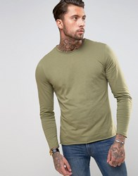 Another Influence Basic Raw Edge Long Sleeve Top Green