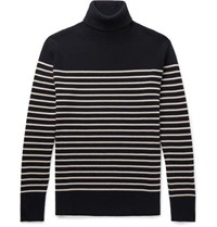 Brioni Striped Cashmere Rollneck Sweater Navy