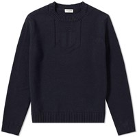 Saint Laurent Anchor Pattern Crew Knit Blue