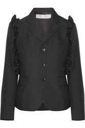 Comme Des Garcons Ruffle Trimmed Pinstriped Wool Blazer Black