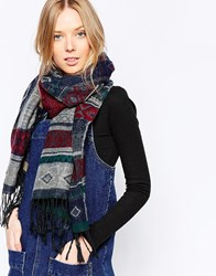 Yumi Patterned Wrap Oversized Scarf Blue