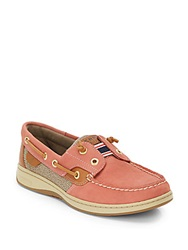 Sperry Rainbowfish Leather And Fabric Boat Shoes Red