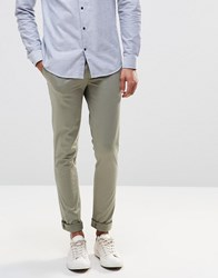 Asos Super Skinny Trousers In Cotton Sateen In Light Green Sea Spray