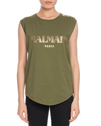Balmain Button Shoulder Logo Muscle Tee Olive