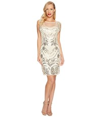 Unique Vintage Beaded Deco Illusion Flapper Dress Cream Gold Women's Dress