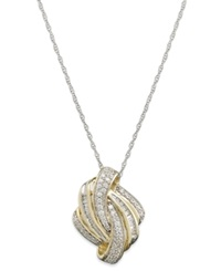 Macy's Diamond Knot Pendant Necklace In 14K Gold 1 2 Ct. T.W.
