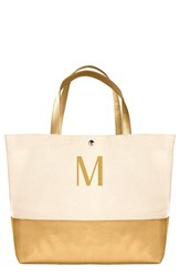 Cathy's Concepts Monogram Canvas Tote Yellow Gold M