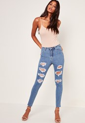 Missguided Blue Highwaisted Extreme Rip Skinny Jeans