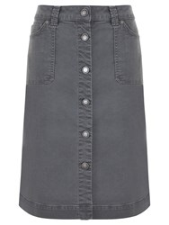 Mint Velvet Denim Button Skirt Washed Khaki