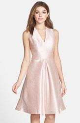 Alfred Sung Women's V Neck Dupioni Cocktail Dress Pearl Pink