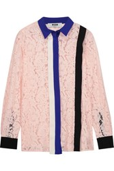 Msgm Crepe Trimmed Guipure Lace Shirt Blush