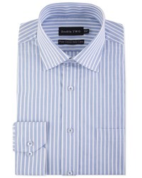 Double Two Men's Striped Band Formal Shirt Cobalt