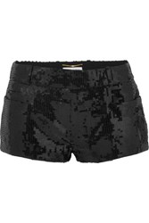 Saint Laurent Sequined Wool Shorts Black