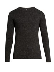 Vince Crew Neck Cotton Blend Sweater Black