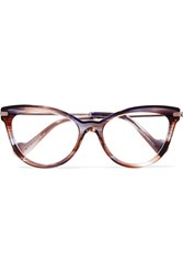 Moncler Cat Eye Tortoiseshell Acetate And Silver Tone Optical Glasses Purple