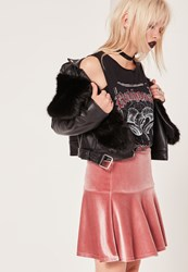 Missguided Frill Hem Velvet Mini Skirt Pink